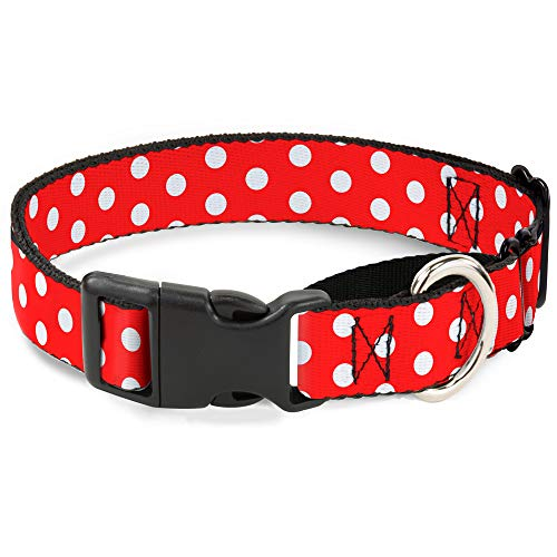 Buckle-Down Martingale Dog Collar - Minnie Mouse Polka Dots Red/White - 1