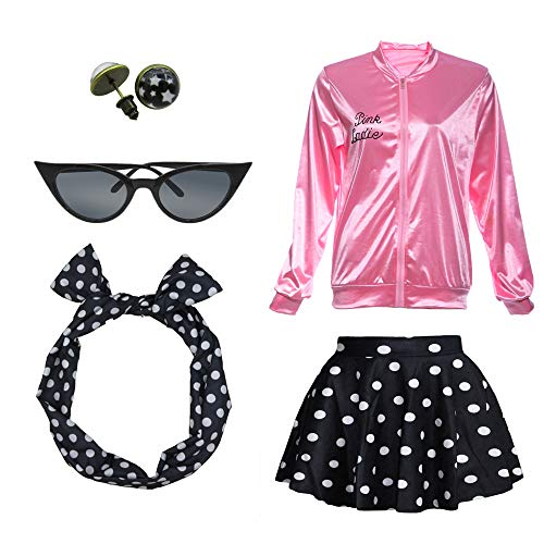 1950s Pink Ladies Satin Jacket T Bird Women Danny Halloween Costume Outfit (M, Black) -