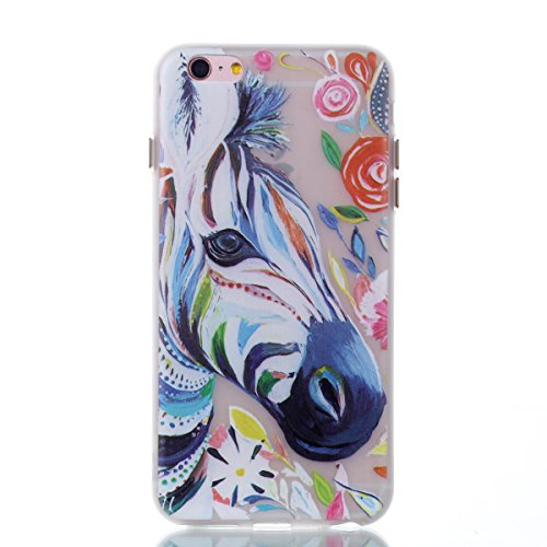 Voguecase Für Apple iPhone 6 Plus/6S Plus 5.5 hülle, Schutzhülle / Case / Cover / Hülle / TPU Gel Skin mit Nachtleuchtende Funktion (Aquarell Zebra) + Gratis Universal Eingabestift
