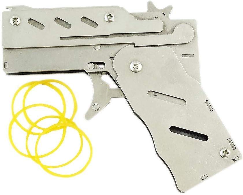 Zhou-long Classic Plegable 6 ráfagas de Acero Inoxidable Banda de Goma Pistola Semi-automático portátil Juguete con 100 Piezas Banda de Goma (Plata)