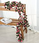 Miracliy 5 Pack 41 FT Fake Rose Vine Flowers Plants Artificial Flower Hanging Rose Ivy Home Hotel Office Wedding Party Garden Craft Art Décor