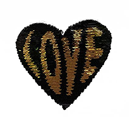 Sew On Love Heart Sequins Patch Reversible Color Paillette Applique