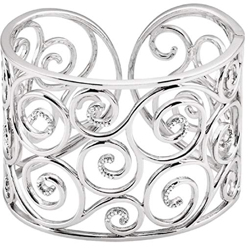 Roxx Fine Jewelry .38 Ct Diamond Filigree Hinged Bangle Bracelet in Sterling Silver