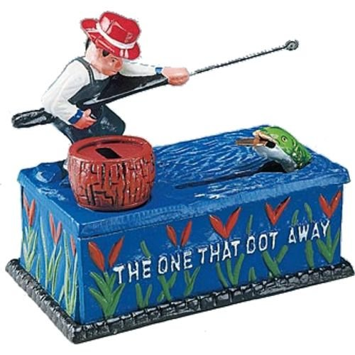 Bits and Pieces - Fishing Cast Iron Bank - Collectible Cast Iron Mechanical -