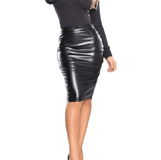 ff2c53aac0a9 Glosun Women Fashion Leather Pencil Skirt Solid Knee Length Skirt Midi  Bodycon Skirt (Small,