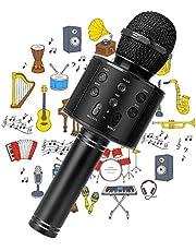 PANFREY Micrófono Karaoke Bluetooth,Micrófono Karaoke Portátil para KTV,Portátil Inalámbrica Micrófono,Altavoz del Karaoke para Niños Canta Partido Musica,Micrófono Inalámbrico Bluetooth,Bluetooth Altavoz,Micrófono Wireless Bluetooth Compatible con Android/iOS PC,Tabletas,el Hogar KTV(Negro)