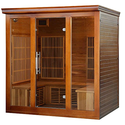Heat Wave Elite 4 Person Sauna FAR Infrared Red Cedar Wood 9 Carbon Heaters 2410 Watt 20 amp Bluetooth - Color Light Therapy (Carbon Infrared Far Sauna)