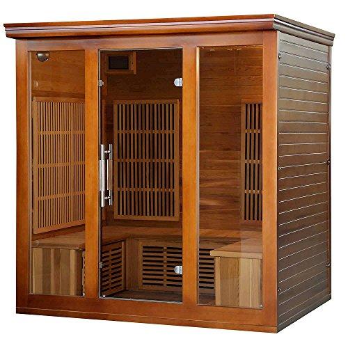 Heat Wave Elite 4 Person Sauna FAR Infrared Red Cedar Wood 9 Carbon Heaters 2410 Watt 20 amp Bluetooth - Color Light Therapy (Sauna Carbon Infrared Far)