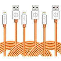 iPhone 6S Charger, 3 Pack 6 Ft F-color Nylon Braided 8 Pin Lightning to USB Cable Cord Apple Certified for iPhone 6S 6 Plus 5S 5C 5 iPhone SE, iPad Air 3 Mini 4, iPad Pro iPod Touch 5 Orange