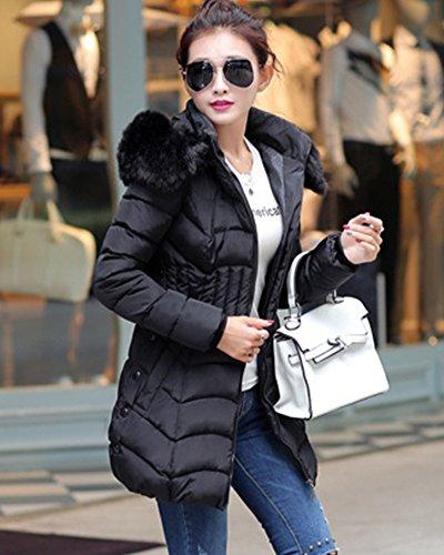 Fit Espesar para Slim Collar Mujer Chaqueta Manga Larga Abrigo Parka con Negro Pelaje Capucha qEtTR14w