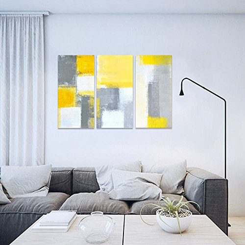 SUMGAR Abstract Wall Art Yellow and Grey Paintings on Canvas Wall Decor for Living Room Large 3 Panel,16x32x3p