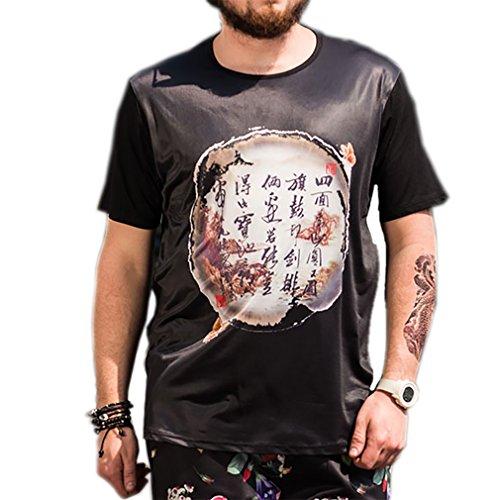Honghu Men's Casual Chinese Word Print Big&Tall Plus Size Summer T Shirt 4X-L Big And Tall Word T-shirt