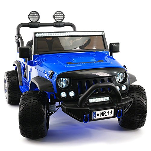Moderno Kids Explorer 2 (Two) Seater 12V Power Children Ride-On Car Truck with R/C Parental Remote + EVA Rubber LED Wheels + Leather Seat + MP3 Music Player Bluetooth FM Radio + LED Lights (Blue) (Best 4 Wheel Drive Cars 2019)