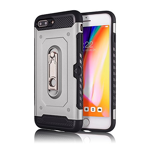 iPhone 6 / 6S Case, KMISS [Card Slot Holder] Dual Layer Hybrid Protective Case Ultra Slim Thin Hard Cover Credit Card Slot Kickstand Apple iPhone 6 / 6S (4.7 inch) (Silver)