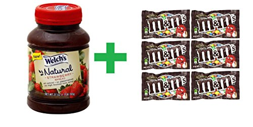 Welch's Natural Strawberry Spread 27 OZ (Pack of 7) + (6 Pack of M&M Milk Chocolate 1.69oz) (Welch Natural Grape Jelly compare prices)