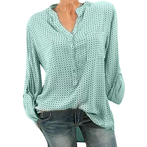- Women Shirt Blouse Dot Print V-Neck Baggy T-Shirt Tees Ladies Plus Size Tunic Tops with Pockets(Green,M)