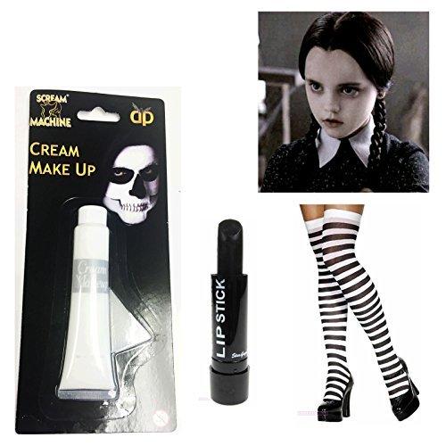 [Wednesday Addams Costume Stripe Black White Socks Paint Lipstick Halloween by NeonCandyUK] (Wednesday Addams Halloween Costumes)