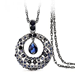 The Starry Night Tears of Stars Pendant Drop Blue Crystal 32.68 Chain Necklace for Fashion Womens Girls
