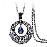 "The Starry Night Tears of Stars Pendant Drop Blue Crystal 32.68"" Chain Necklace for Fashion Womens Girls"