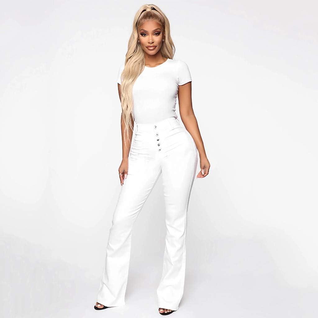Blu Bule Scuro Moent Women Clothes Pantaloni Donna Jeans Svasati Vita Media Campana Jeans Elasticizzati Pantaloni Lunghi Lunghezza Jeans Bianco Nero