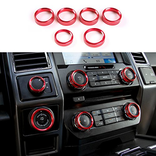 Thenice 6pcs Aluminum Alloy Air Conditioner & Audio & Trailer & 4x4 Switch Knob Ring Console Button Cover Trim Bezel for Ford F150 XLT 2016 2017 2018(Red) (Aluminum Trim Cover)
