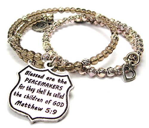 Chubby Chico Charms Blessed Are The Peacemakers For They Shall Be Called The Children Of God Matthew 5:9 Delicate Glass and Roses Wrap Bracelet 2 Piece Set in Slate - Chubby Glasses