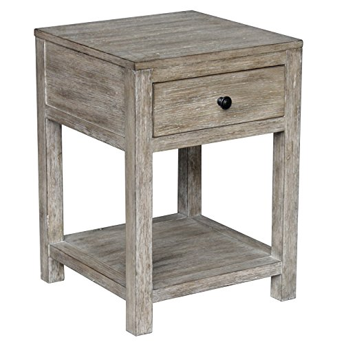 (Pulaski DS-D146-001 Home Comfort Reclaimed Wood Side Table, One Storage Drawer, White Wash)