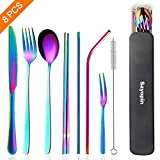 SAYOPIN Stainless Steel Travel Flatware Sets of 8 Portable Camping Cutlery Set, Healthy & Eco-Friendly Flatware Set with Carrying Case for Travel or Camping