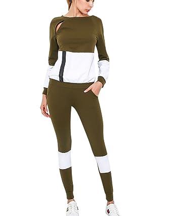a12fcf456005e Femme Casual Sweat-Shirt+Pantalons Vêtements De Sport Running Yoga 2 Pièces  Ensemble Vert