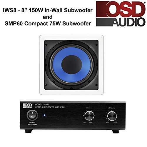 OSD Audio SMP60 75W Compact Subwoofer Amplifier and IWS8 In-Wall 8'' 150W Subwoofer Home Theater Package by OSD Audio