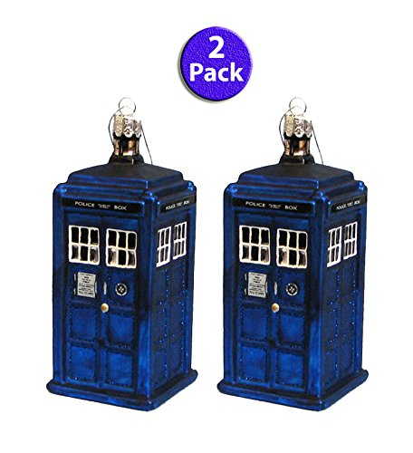 Figural Glass (Kurt Adler 4.25-Inch Doctor Who TARDIS Glass Figural Ornament (Glass, 2 Pack))
