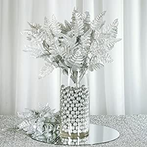 BalsaCircle 144 Silver Artificial Leather Fern Branches - 12 Bushes - Artificial Flowers Wedding Party Centerpieces Bouquets Supplies 33