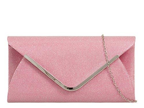 Prom Bag Pink LeahWard Wedding Glitter Clutch Purses Handbags 2870 Flap Women's 06nxZ