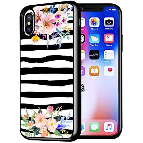 Zebra Cases for iPhone XR,Casililor [TPU] [Anti-Slip] Premium Slim Protective Zebra Case Cover for iPhone XR/for Apple XR - Zebra Watercolor Flowers
