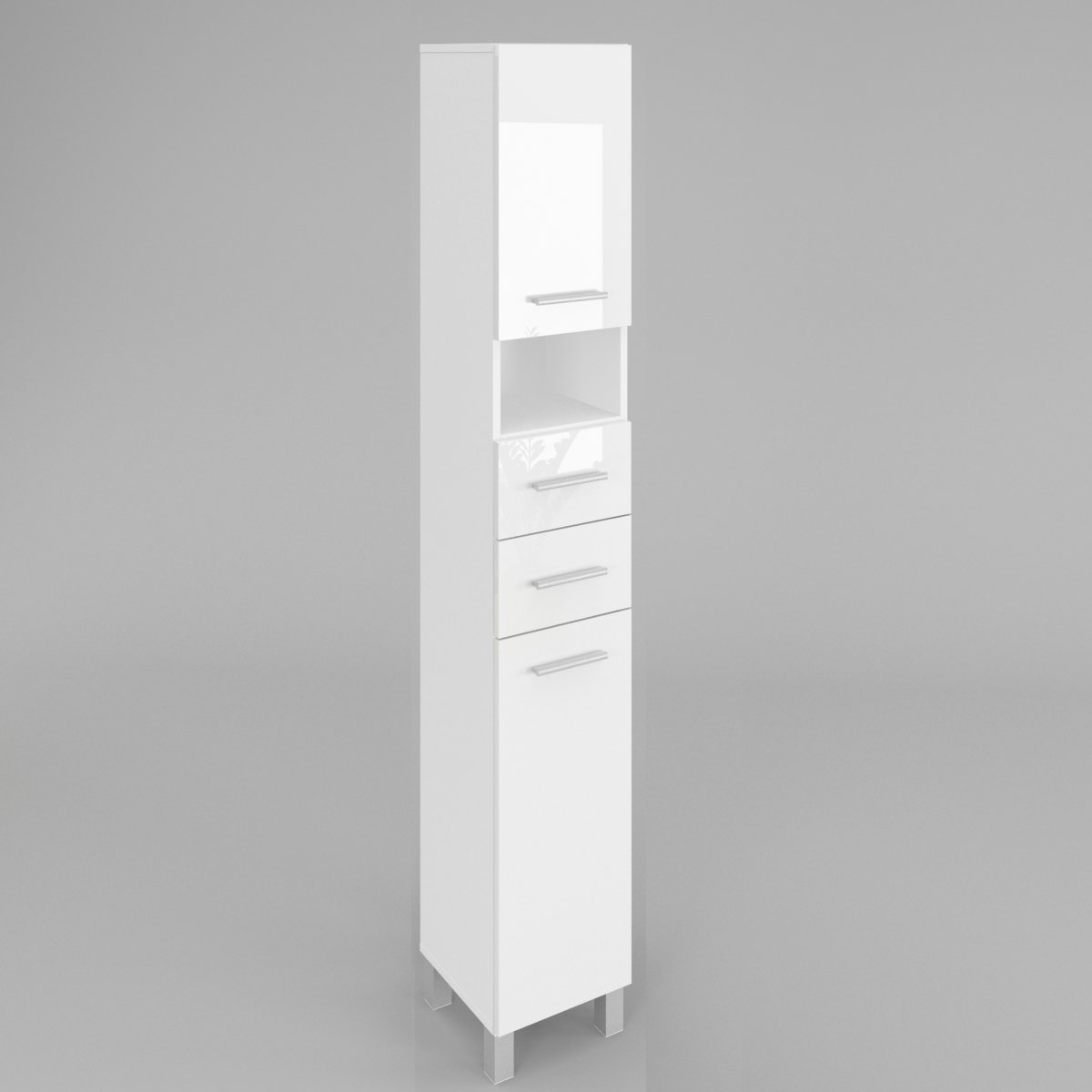 GABI BATHROOM HIGH CABINET WITH DOORS AND SHELVES - CARCASS: BLACK HIGH GLOSS - FRONTS: WHITE HIGH GLOSS