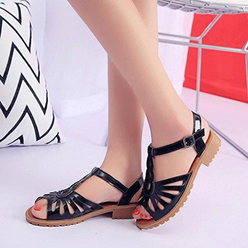 Saingace Sommer-Art- und Weisefrauen-Ausschnitt-Sandelholze geöffnete Zehe-niedrige Keil-hohle Schuhe Schwarz