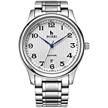BUREI Men's Silver Date Dress Watch with Arabic Numbers and Stainless Steel Band