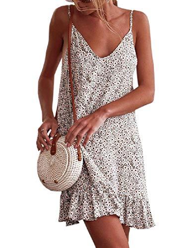 (Valphsio Womens Floral Spaghetti Strap Short Dress Boho V Neck Mini Beachwear Dress Sundress (X-Large, X-Beige))