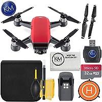 DJI Spark Portable Mini Drone Quadcopter+ 32GB Micro SD Card + Starter Bundle (Lava Red)