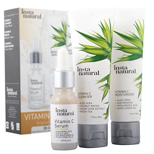 Vitamin C Skin Trio Bundle - 30 Day Starter Kit - Cleanser, Serum, & Moisturizer Combo - Natural & Organic Anti Aging Face Treatment - Reduces Wrinkles, Dark Circles & Boost Collagen - InstaNatural by InstaNatural