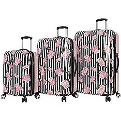 "Betsey Johnson Luggage Hardside 3 Piece Set Suitcase With Spinner Wheels (20"" 26"" 30"") (One Size, Stripe Roses)"