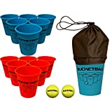 BucketBall - Beach Edition Starter Pack - Ultimate Beach, Poolside, Backyard, Camping, Tailgate, Outdoor Game - Includes 12 BucketBall Buckets, 2 Hybrid Balls, Tote Bag, Instructions