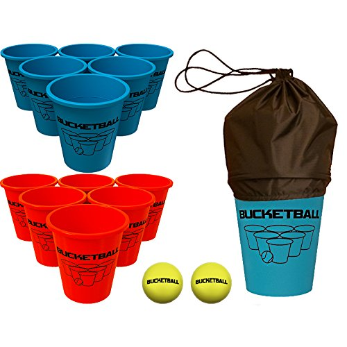 BucketBall - Beach Edition Starter Pack - Ultimate Beach, Poolside, Backyard, Camping, Tailgate, Outdoor Game - Includes 12 BucketBall Buckets, 2 Hybrid Balls, Tote Bag, (Blue Ball Bucket)