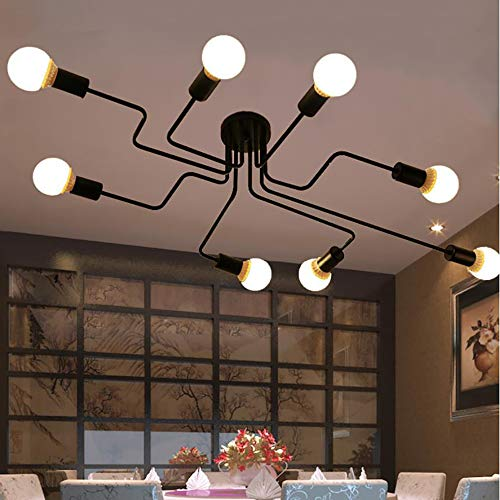 Industrial Vintage Style Light Wrought Metal Semi Flush Mount Ceiling Light Lamp with 8 E27 Bulbs Socket for Kitchen Dining Room Bedroom Lighting