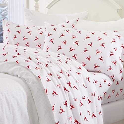 Great Bay Home Extra Soft Reindeer 100% Turkish Cotton Flannel Sheet Set. Warm, Cozy, Luxury Winter Bed Sheets. Belle Collection (Full, Reindeer) (Sheets Cotton Christmas)