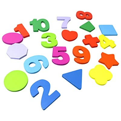 NUOBESTY 100pcs Wooden Numbers Letters Craft Alphabet Blocks Matching Puzzle Educational Learning Toy for 2-3 Years Old Kids Toddlers Playing(Random Style): Toys & Games