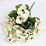 Htmeing-17-Inch-Artificial-Pansy-Flowers-Home-Office-Wedding-Decoration-White
