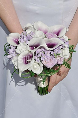 (White & Purple Vermeer Lily, Rose & Stephanotis Wedding Bouquet)