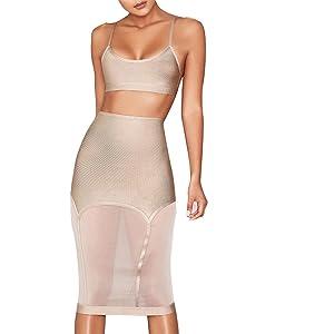 5bb65f7f11e UONBOX Women's Crop Top 2 Pieces Midi Mesh Skirt Set Bodycon Bandage Dress