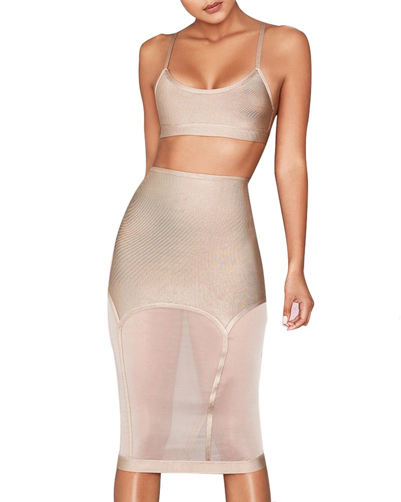 UONBOX Women's Crop Top 2 Pieces Midi Skirt Set Bodycon Bandage Dress (L, Nude) by UONBOX (Image #1)